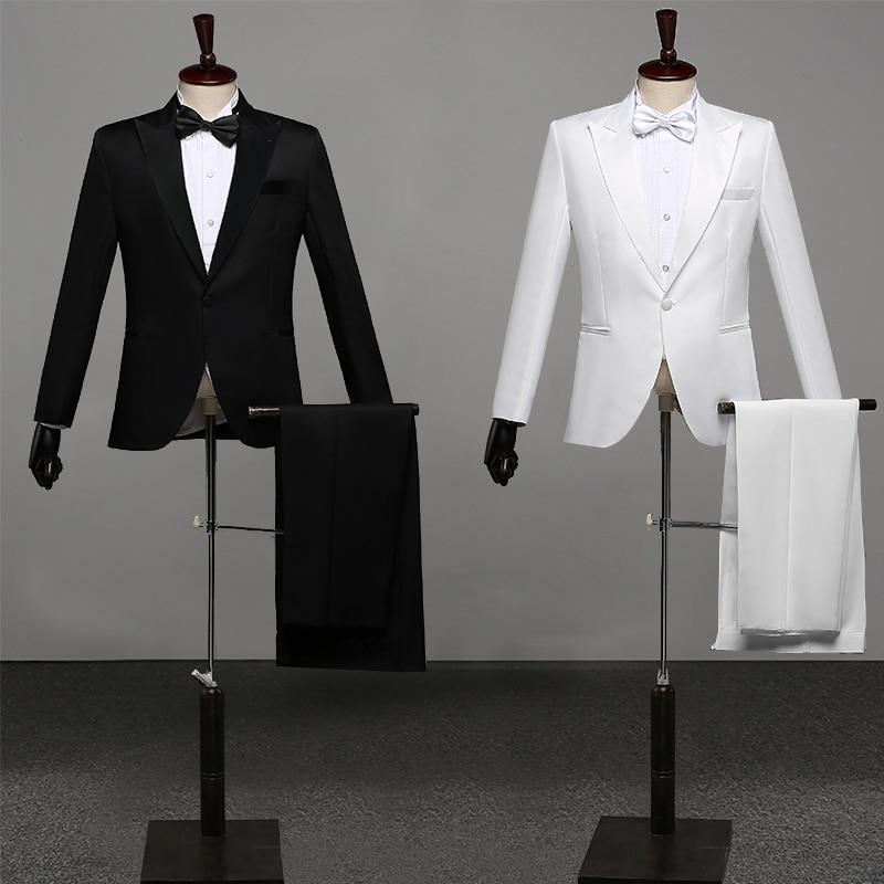 Men Prom Suits Men'S Shawl Lapel White Black Two-Piece Jacket Pants Suit Slim Evening Party Stage Show Performance Wedding Suit