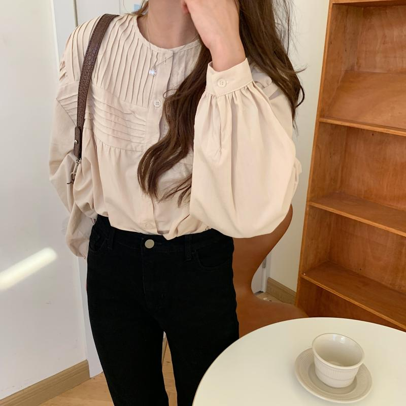 H5f41d8c15d234e22a99be702f5d88db6b - Spring / Autumn Korean O-Neck Long Sleeves Pleated Solid Buttons Blouse