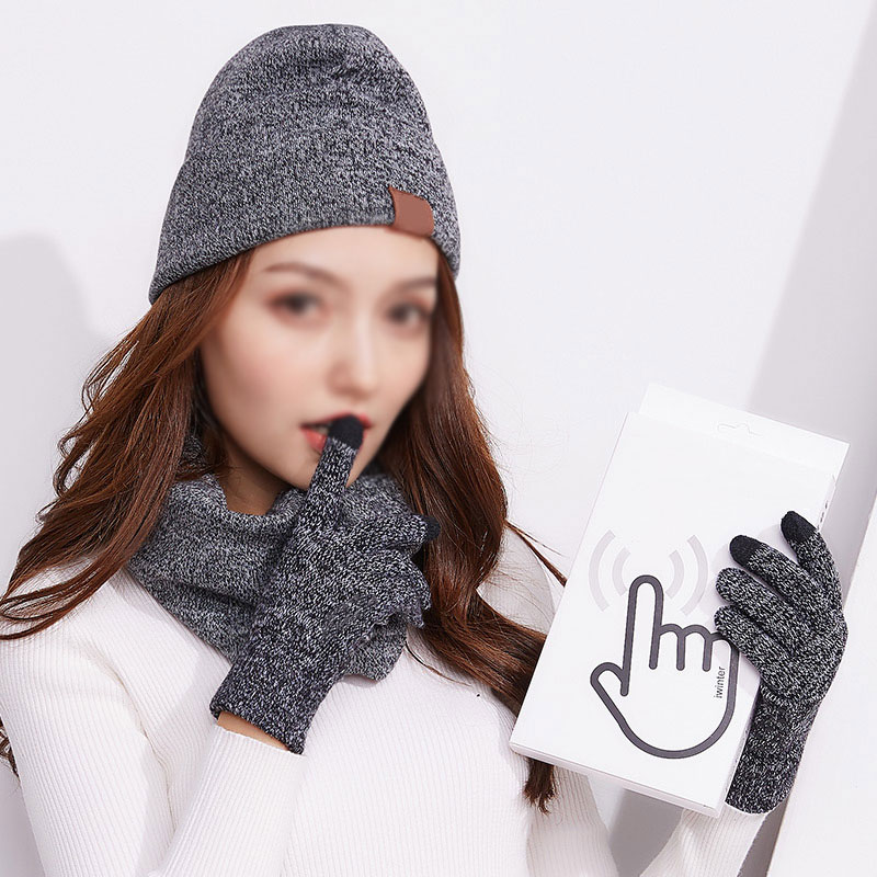 3PCS/set Winter Beanie Scarf Gloves Set Knit Skull Cap Infinity Scarves Touch Screen Mittens