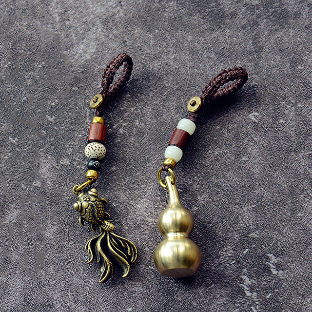 Mini Brass Gourd Statue Ornament Pendant Bless Peace Pocket Figurines Home Office Desk Decorative Ornament Key Pendant Toy Gift 1