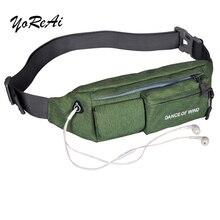YoReAi Waterproof Nylon Unisex Bum Bag Sports Fanny Pack Running Cycling Jogging Earphone Waist Belt Pouch Pocket