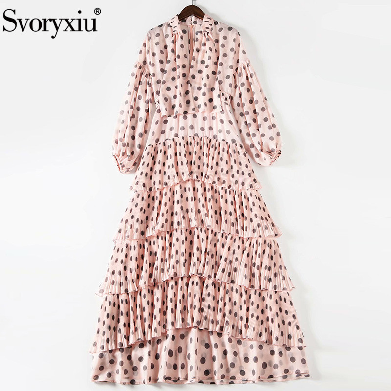 Svoryxiu Designer Summer Party Vintage Dot Print Maxi Dresses Women's Lantern Sleeve Tiered Pleated Ruffles Plus Size Long Dress
