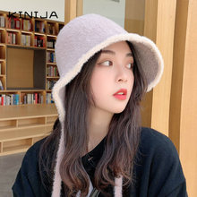 Корейская женская вязаная меховая бандажная Рыбацкая шапка зимняя