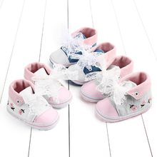 Fashion Baby Girl Bow Boots Sport First Walkers Newborn Baby Girls Toddler Flower Lace Canvas First Walkers Soft Sole Shoes(China)