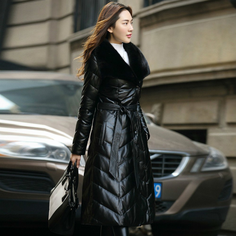 Mink Fur Collar Real Genuine Leather Jacket Women Clothes 2020 Korean Vintage Autumn Winter Sheepskin Down Coat Tops AR15D5399