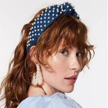 Soft Velvet Center Knot Wide Hairband Imitation Pearls Headband and Hoop Earrings For Women Trendy Headwear Hair Ear Accessories