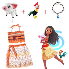 Party Kids Moana Adventure Costume Girls Dress Summer Clothes Princess Vaiana Clothing Set Children Birthday Cosplay Dress up(China)