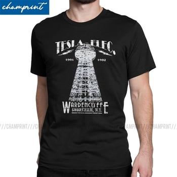 Tesla Tower Wardenclyffe Weathered Board T-Shirts for Men Nikola Electricity Energy Geek T Shirt Nerd Vintage Tee - discount item  40% OFF Tops & Tees