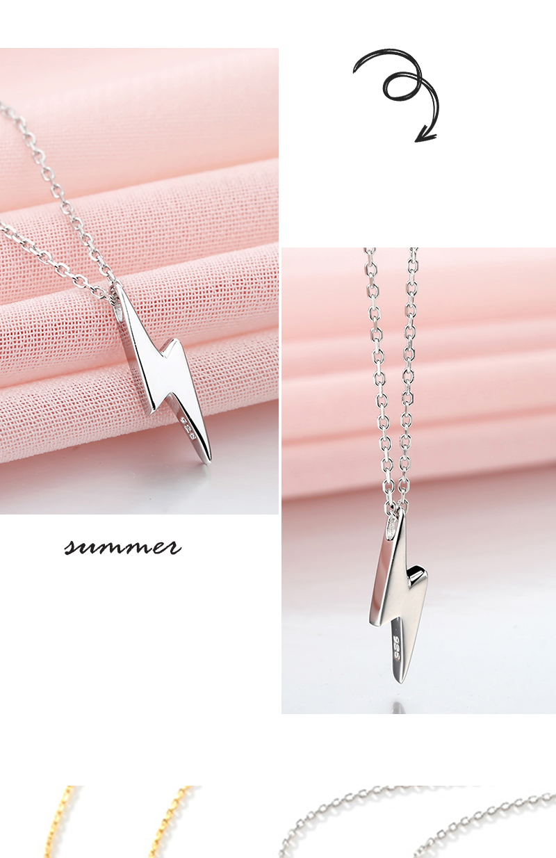 H5f42c92fb7ac43f4b44db8e6a2d7f50cA Dorado 925 Sterling Silver Necklaces Golden Silver Lightning Pendant Necklaces Fine Jewelry Gift Birthday  For Women