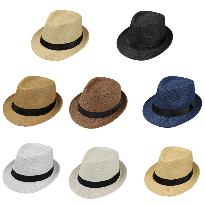 New Children Kids Summer Beach Straw Hat Jazz Panama Fedora Hat Gangster Cap Outdoor Breathable Hats Girls Boys Sunhat