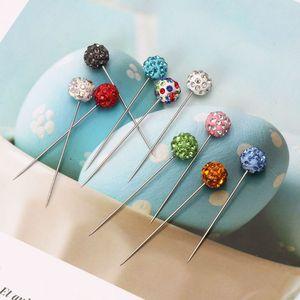Image 5 - 30Pcs/Set Safety Pin Muslim Hijab Scarf Pin Rhinestone Ball Brooch Straight Head Pin