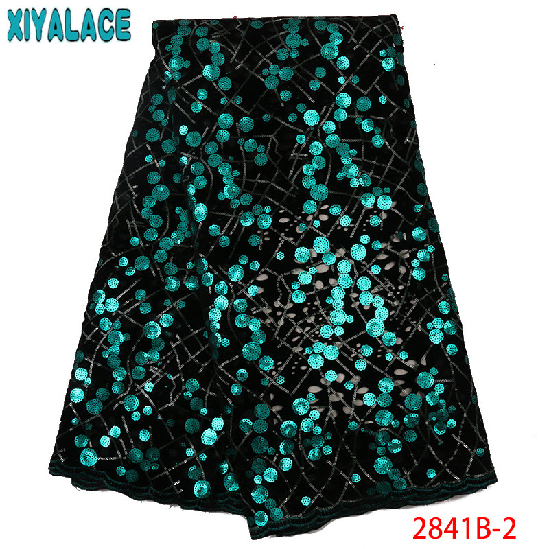 High Quality Sequins Lace Fabric Velvet Lace Fabrics French Tulle Lace Fabric with Sequence For Party Dresses KS2841B-2