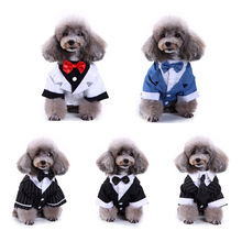 Gentleman Pet Clothes Dog Suit Striped Tuxedo Bow Tie Wedding Formal Dress For Dogs Halloween