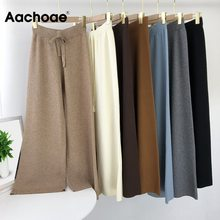 Knit Pants Trousers Joggers Wide-Leg Loose Aachoae Casual Drawstring Home-Wear Solid