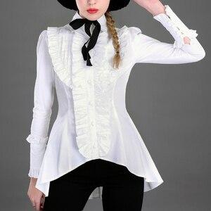Весенняя женская белая рубашка с оборками, винтажная викторианская рубашка, женская готическая блузка с ласточкиным хвостом, костюм Лолиты