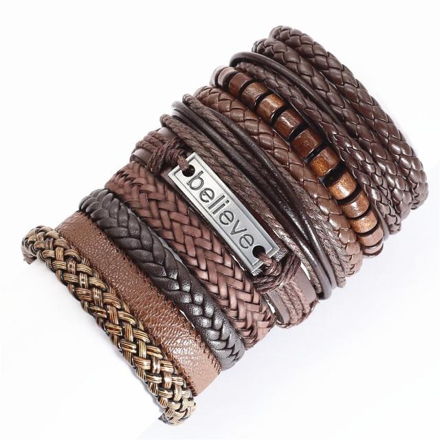 10 Pcs/set Ethic Rope Weave Believe Motorcycle Bat Charm Leather Bracelets Men Women Bangles Homme Femme Male Jewellery Pulseras