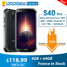 Smartphone DOOGEE S40 Pro Android 10 IP68 IP69K 4GB RAM 64GB ROM Rugged Mobile Phone Waterproof Octa Core 4650mAh Cellphones cheap Not Detachable Other CN(Origin) Fingerprint Recognition 13MP 4600 Adaptive Fast Charge english Russian German French Spanish