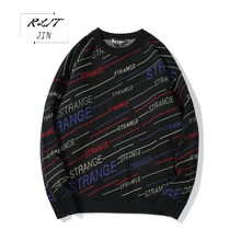 RLJT.JIN 2019 Quality street cotton pullover Hiphop letter meteor shower stripe men sweater Harajuku High fashion clothes