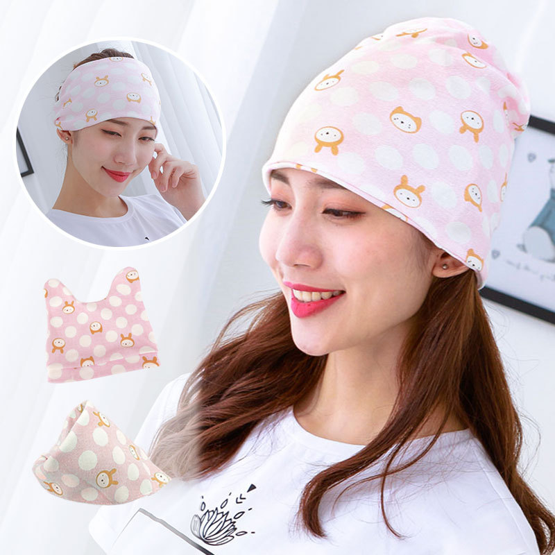 4 Pieces In A Set New Style Pure Cotton Baby Bear Hat Confinement Cap Triangular Binder Maternal Hat Parent And Child Set