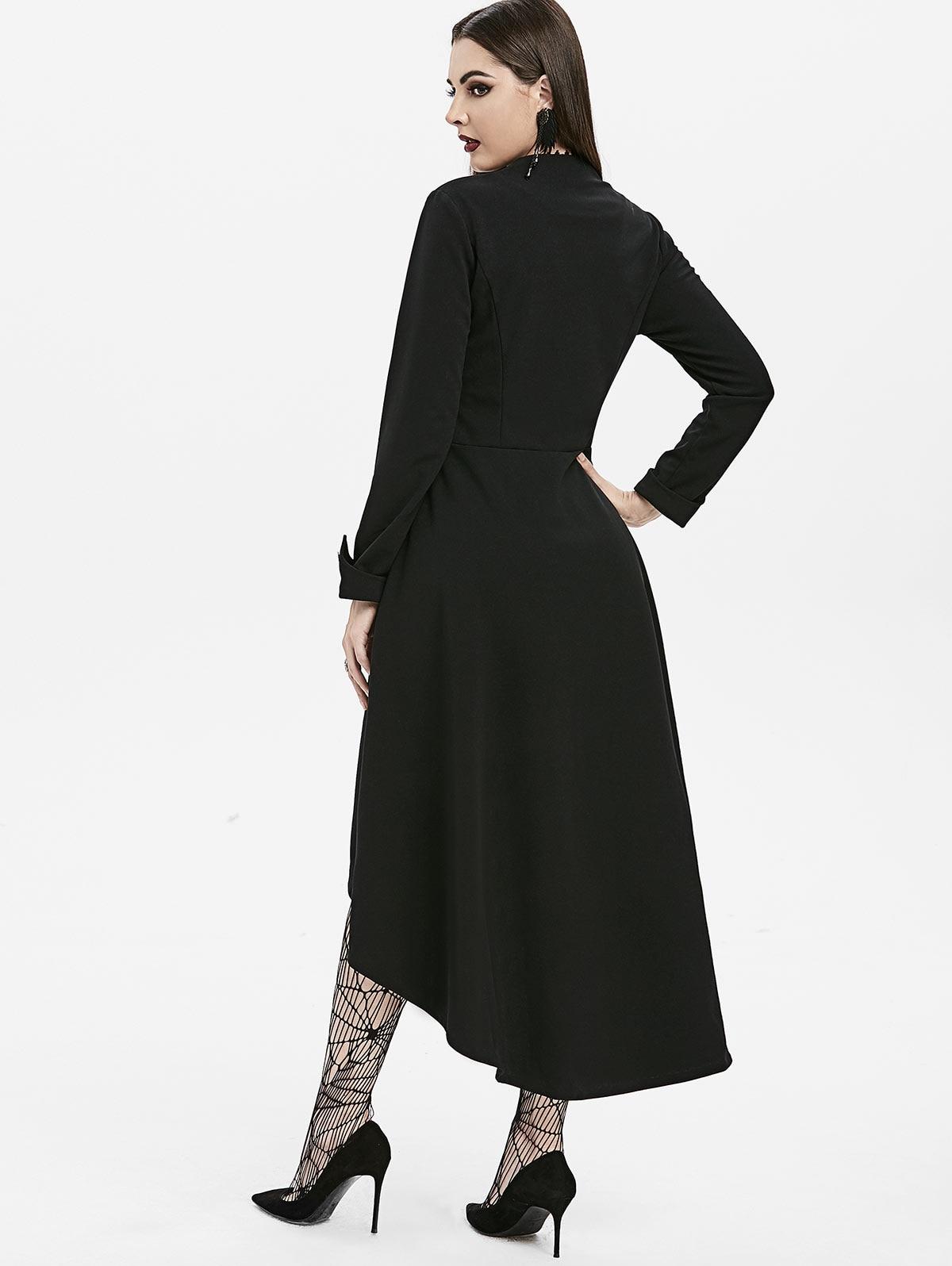 Fseason-Women Long Sleeve High Low Hem Trench Long Outwear Coat Jacket