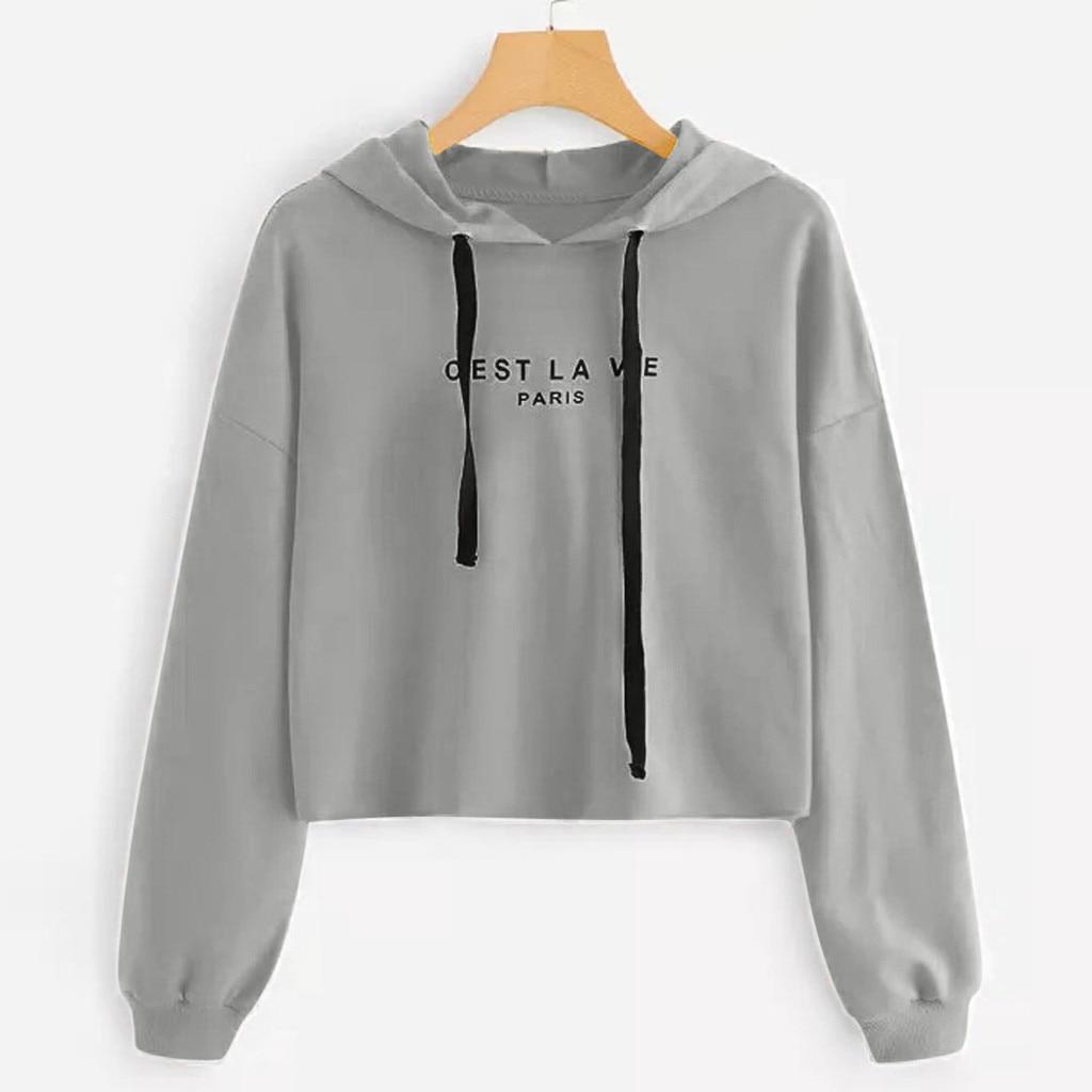 Feitong Hoodies Womens Crop Top Letters Long Sleeve Hoodie Sweatshirt Pullover Tops Blouse Women's Sweatshirt