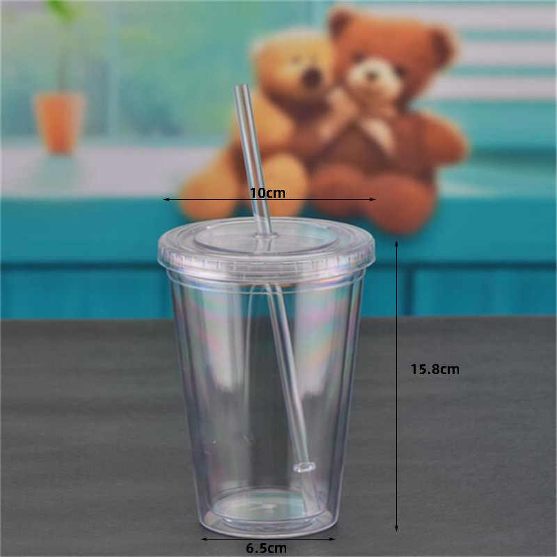 1 Pcs 450 Ml Double-Walledice Plasticiced Tumbler Met Stro Herbruikbare Smoothie Koud Drankje Mok Sap Thee cup