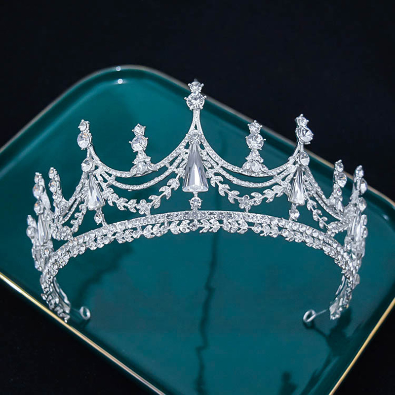 Luxury Geometric Big Rhinestone Bridal Crown Baroque Crystal Tiaras Crowns for Women Bride Headbands Wedding Hair Accessories