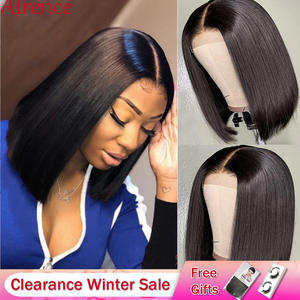Closure Wig Short Human-Hair-Wigs Lace Natural-Hairline Straight Women Brazilian