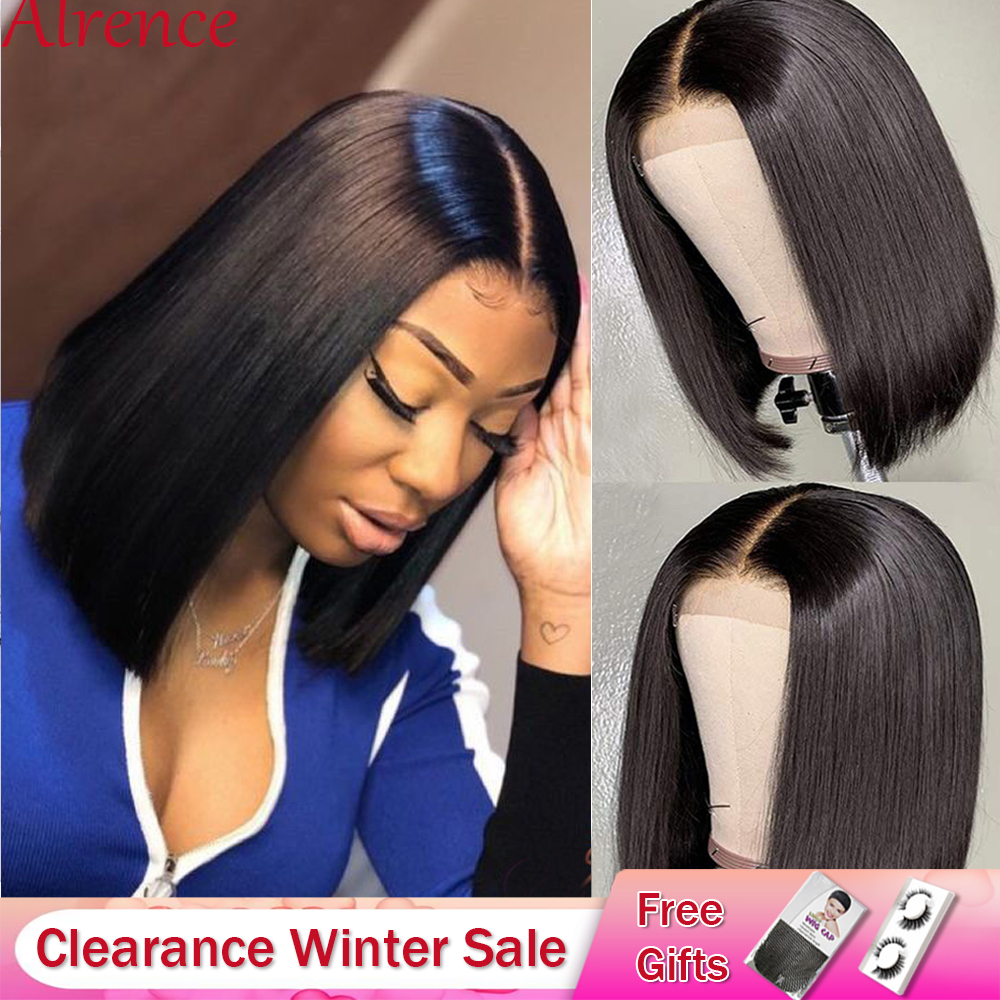Brazilian Straight Lace Closure Wig Short Human Hair Wigs Bob Lace Front Wigs Natural Hairline Lace Front Human Hair Wigs Summer