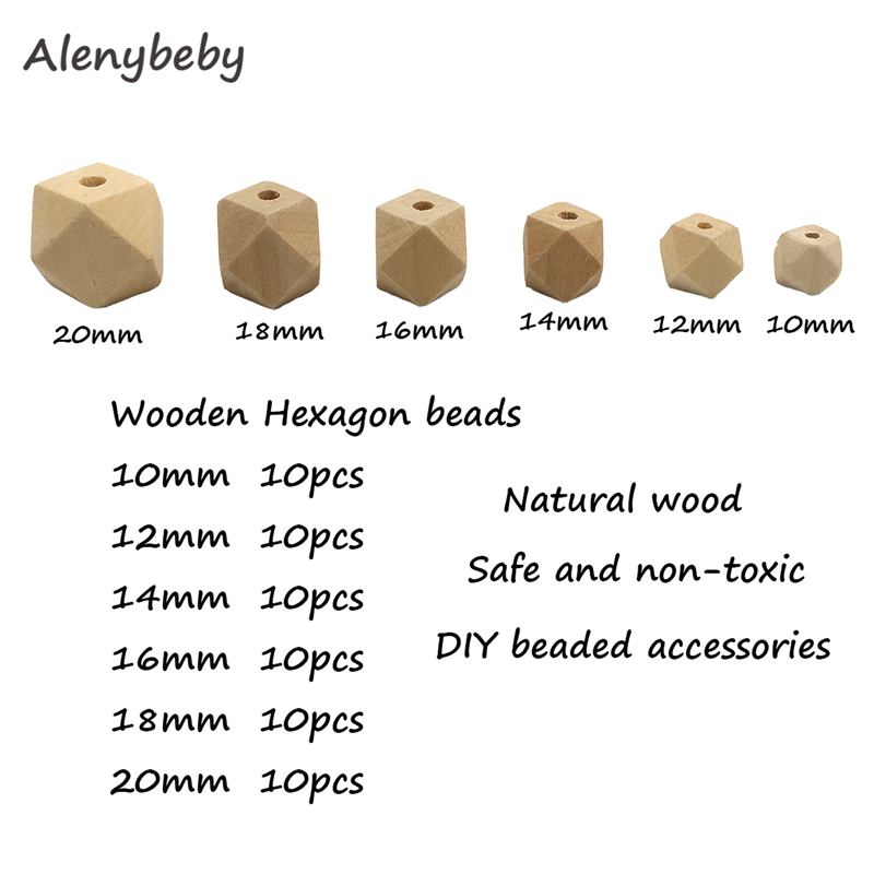 10-20mm Unpainted Handmade Beads Maple Hexagon Wooden Food Grade Teether Chewable Beads DIY Crafts Accessories Baby Teething Toy