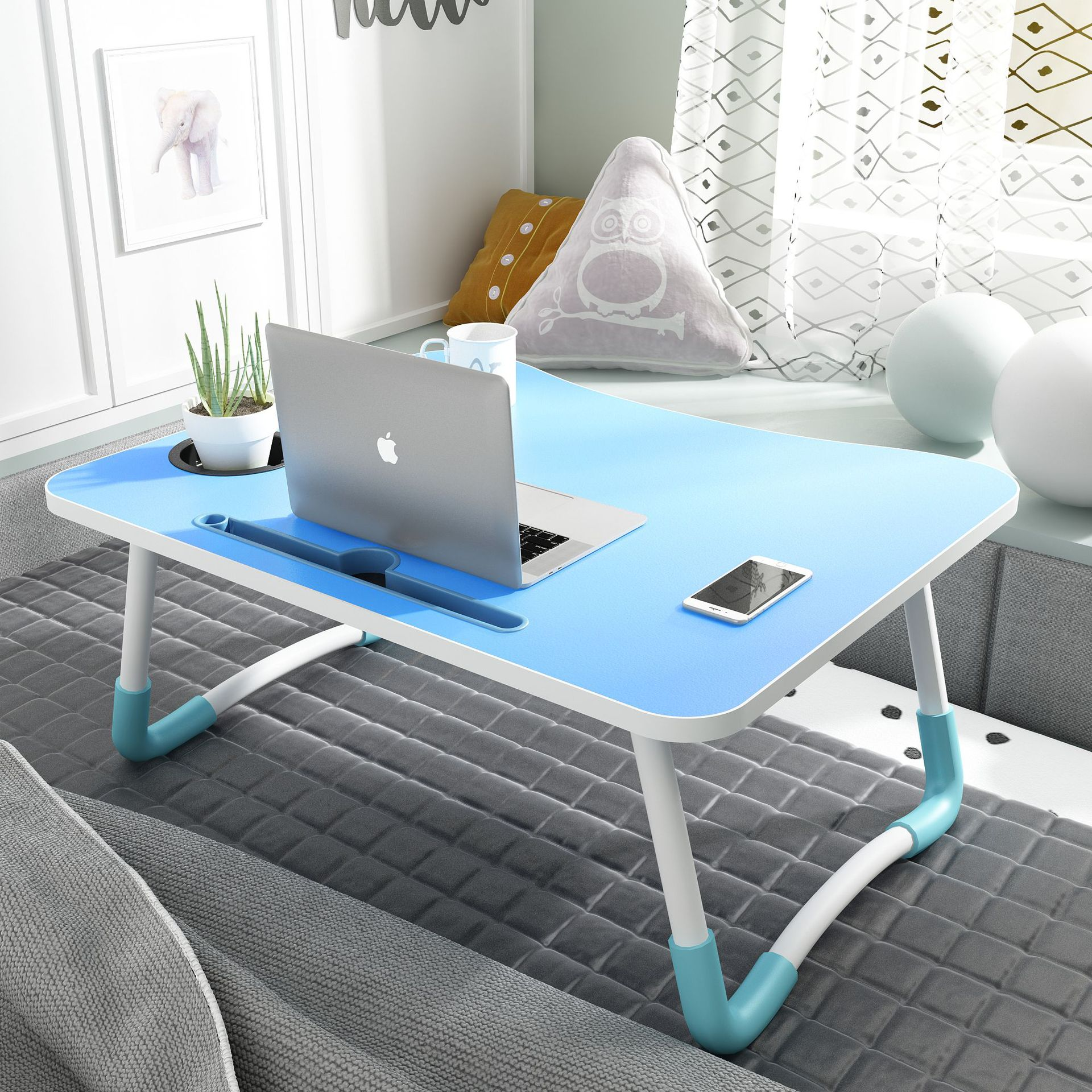 Mobile Phone Card Slot W Leg Laptop Table Bed Desk Computer Desk Simple Anti-slip Small Table A Generation Of Fat