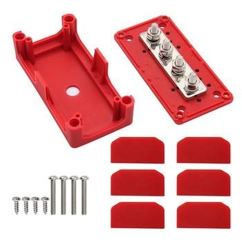 Barra de Bus, bornera con carcasa roja, diseño Modular resistente, caja organizadora de cables, M8x4, 300A, alta corriente 3