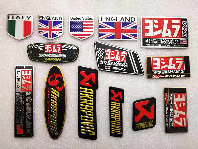 Aluminum 3D Heat-resistant Motorcycle Exhaust Pipe Decals Sticker