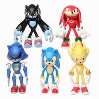 Figuras de acción de Sonic para niños, muñeco de juguete de Sonic Tails, nudillos, Shadow, Amy Rose, de PVC, 12cm, 5 unidades