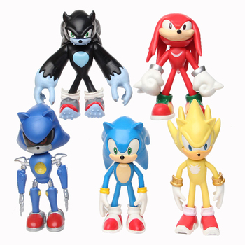 12cm 5pcs/set Sonic Figure Toys Doll Anime Cartoon Sonic Tails   Knuckles Shadow Amy Rose PVC Action Toy Model For Children Gift недорого