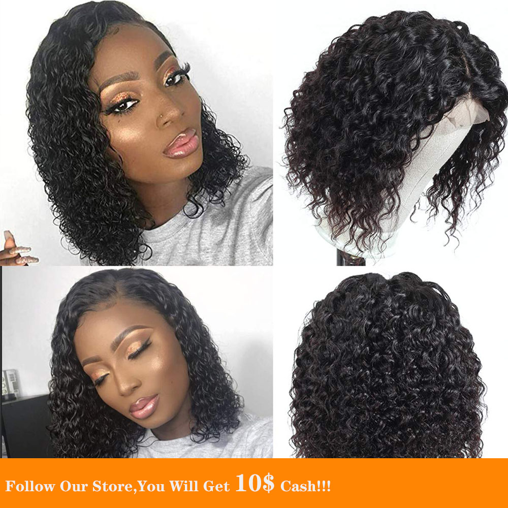 Bob 13X4 Lace Front Human Hair Wig Short Loose Curly Closure Wig Natural Black Hairline Transparent Wig Small Average Cap Size