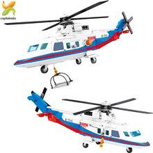 391 pçs helicóptero de resgate modelo blocos de construção cidade emergência resgate polícia avião figuras iluminar tijolo brinquedos crianças