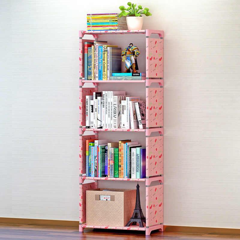 Simple Creative Storage ชั้นวางหนังสือพืช Sundries DIY ชั้นวางของยืนเด็กตู้หนังสือ