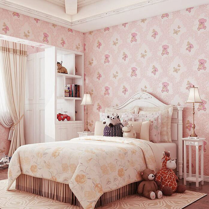 Qindu Humble House CHILDREN'S Room Environmentally Friendly Non-woven Wallpaper Boys And Girls Bedroom Bear Wallpaper 9100