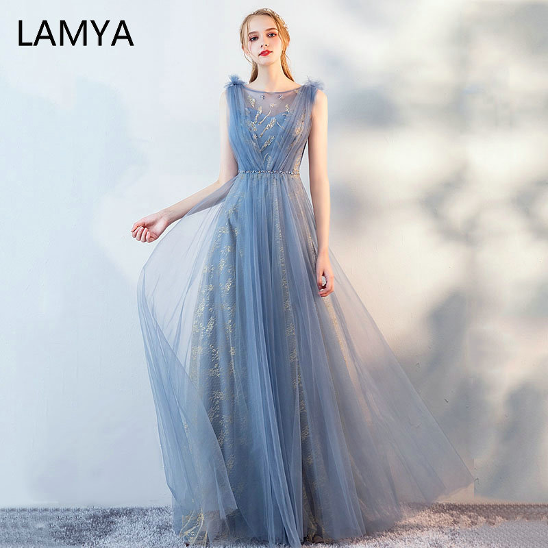 LAMYA Beads Sashes Long Evening Dresses V Neck Tulle Prom Dress Elegant Ruched Empire Formal Gowns vestidos de gala Ladies Gown