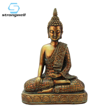 Strongwell Resin Imitation Copper Buddhism Bodhisattva Buddha Statue India Sculpture Vintage Head Crafts Decor