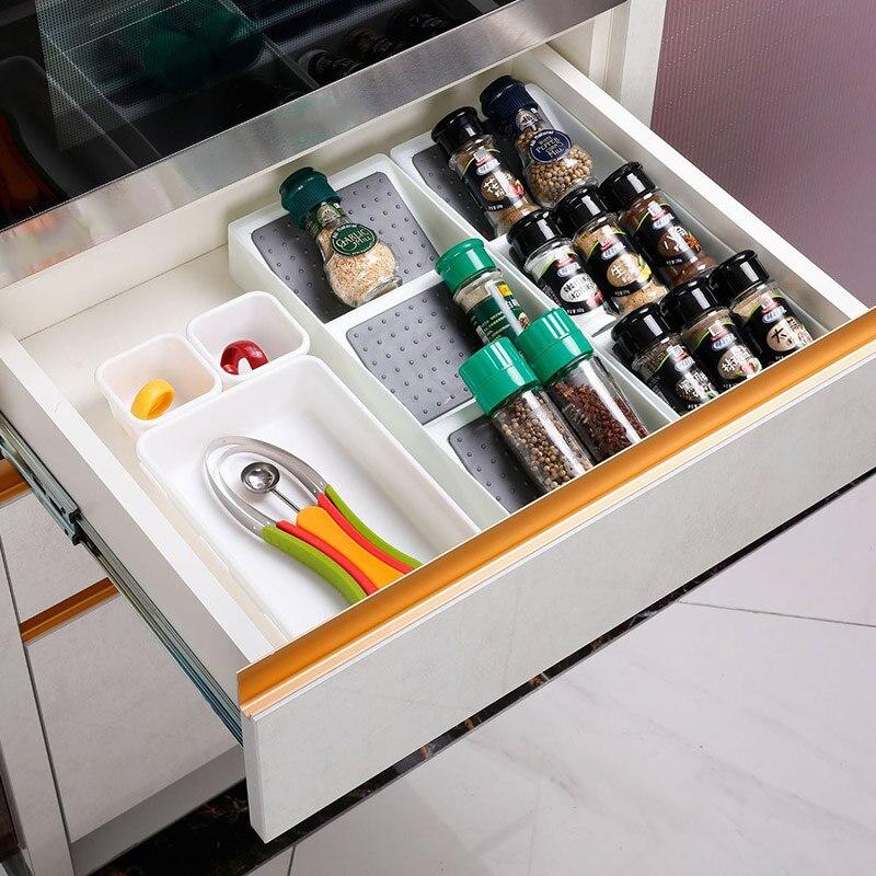 Kitchen Spice Rack Drawer Storage Non-skid 3 Grids Organizers for Seasonings Bottles DQ-Drop