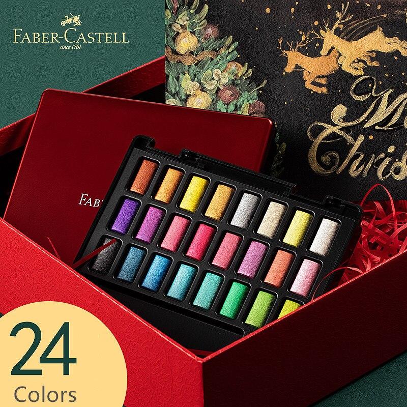 FABER CASTELL 24 Цвета Профессиональные однотонные акварельные краски с ручкой металлический твердый пигмент