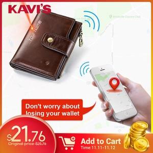 Image 1 - KAVIS rfid Smart Wallet Genuine Leather with alarm GPS Map Bluetooth Black Men Purse High Quality Design Wallets Free Engraving