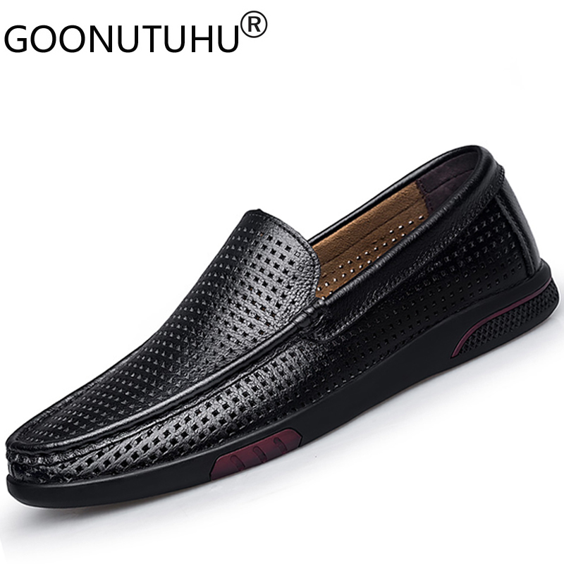 Genuine Leather Cow Loafers Male 2020 New Summer Breathable Men's Shoes Casual Black Hollow Shoe Man Flats Driving Shoes For Men