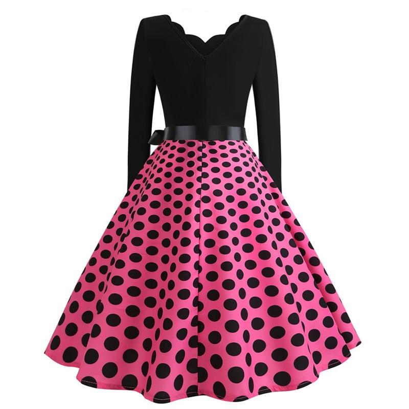Women Long Sleeve Winter Vintage Dresses Sexy Black Music Note Print V-neck Rockabilly Pin up Party Dress Vestidos Plus size 577