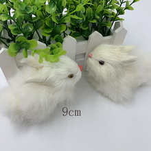 Mini cute rabbit plush toy fur realistic animal simulation home decoration birthday gift