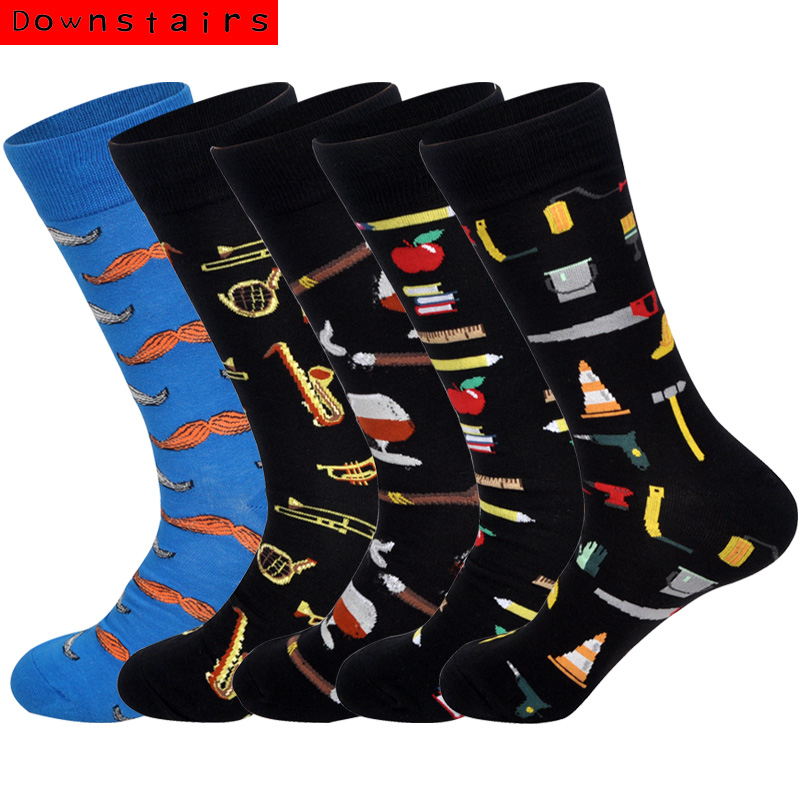 Downstairs Men's Socks Instruments Heart Foods Casual Breathable Musical Cotton 5pairs/lot Happly Socks Calcetines Hombre