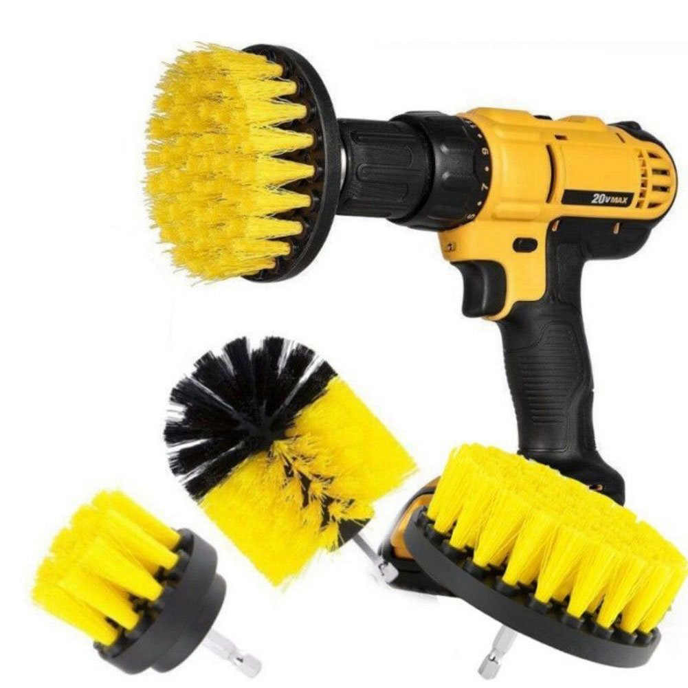 3pcs Electric Scrubber Brush Drill Kit Plastic Round Cleaning Carpet Glass Car
