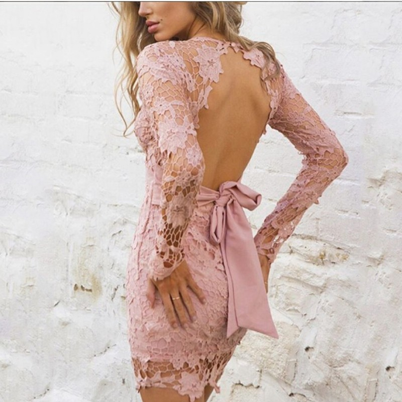 BEFORW Women Backless Deep V Neck Sexy Lace Dress Women Solid Color Hollow Out Long Sleeve Elegant Party Dresses Summer